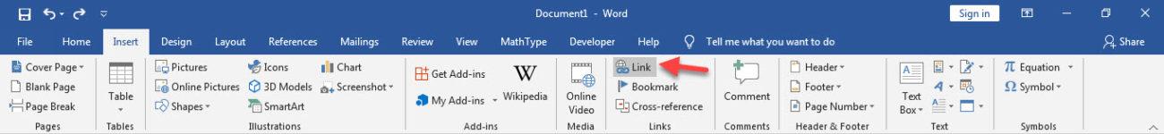 آموزش کامل کار با لینک (link) در word - زبانه insert