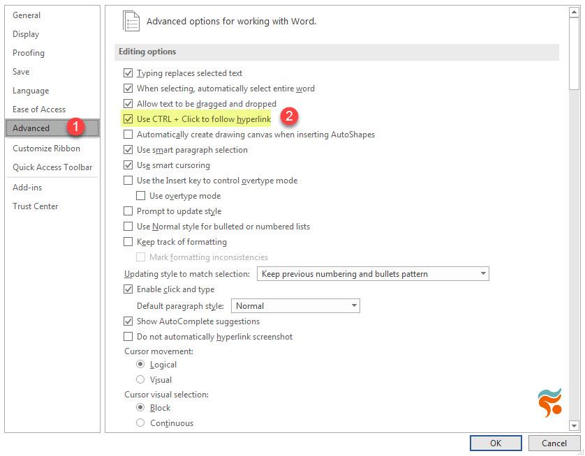 آموزش کامل کار با لینک (link) در word - word option 2
